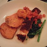 Winterliciou prix fixe dinner. Crab cake on mushroom as appetizer. Main course are pork chop, la