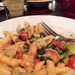 Shrimp and Pork Belly Pasta, washed down with Bold Rock IPA Cider