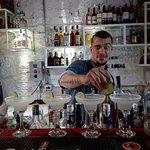 Great barman making several Margarita cocktails!!
