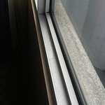 Mold above our window and water pooling on our window sill. Inside the room!
