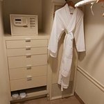 Safety box and bathrobes in wardrobe area