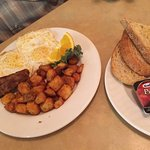 Breakfast special, over easy with sausage, AALTOS Garden Cafe, 2401 Saskatchewan Ave. W., Portag