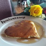 Anniversary Pancake and 3 roses!