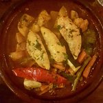 Tagine with chicken, potatoes and vegetables