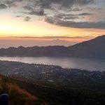 Watching the sunrise on mount batur