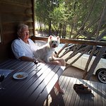Relaxing on the verandah with Tilly, our Westie
