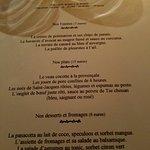 la carte des menus