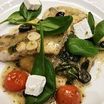 Roasted Cod with White Wine Sauce, Basil and dried Olives