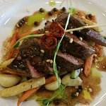 Roe Deer Medalions with Green Pepper and Hot Vegetables