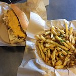 Chicken cheesesteak and duck fries