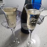 Just for fun, we brought our wedding glasses to toast to another year of love