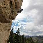 Owner of Wind River Climbing Guides, Kyle Meier, enjoying Wild Iris outside of Lander