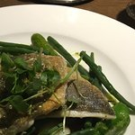 Sea bream on green vegetables