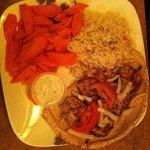 Chicken Souvlaki with Carrots, Rice and Pita