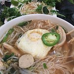 Pho with Chicken meatballs and chicken and egg