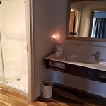 LARGE bathroom with walk in shower, lots of counterspace, really well done!