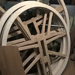 Bell wheels being prepared in the carpenter's shop