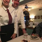 Our Waitress and Chef-with my fabulous dessert -A Yule Log.....