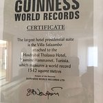 Guinness book records , the world largest presidential suite , 1542 square meters .