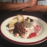 Dessert selection with birthday candle!