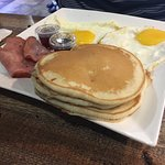 3 egg, 3 pancake and ham breakfast.
