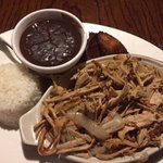Pork, black beans, and rice