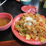 Hot and Sour soup and Vegetable/Shrimp Dish
