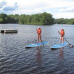 Kayaks, paddle boards, paddle boats, and a canoe available free of charge.