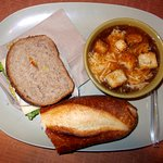 Turkey and cheese with French onion soup