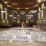 Central Hall fearing ice skating rink for the exhibit: 50 Years of Blood, Sweat and Cheers
