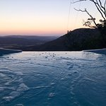 Sunset view from hot tub in Peta cabin