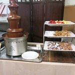Chocolate fountain in the dessert room.