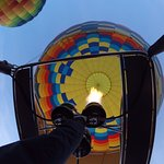Amazing balloon ride. Heating the air in the balloon even more to get off the ground