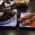 Mussels & shrimp kebabs