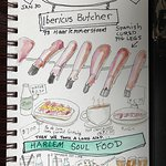My illustrated travel journal showing what we ordered for lunch. Excellent cured ham sandwich an