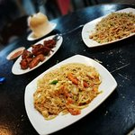 Tom yam Fried Mee&Bee Hoon, Fried Rice and Fried chicken. Cost about RM50 for two persons.