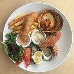 Seafood plate, king prawns, oysters, scallops, morton bay bugs, flathead fillets, & chips