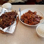 sizzling beef and peking pork