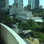 View from room 510 of the Carmen Iglesia with city skyline behind.