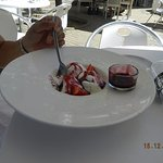 Homemade Icecream with berry Sauce