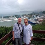 The Happy Travellers with Castries, Pointe Seraphine in the background