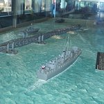 Model of mulberry causeway in museum