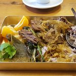 Wild rice, rice vermicelli, stewing beef and orange