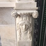 Intricate carving on the marble mantle in Mr. Davenport's office.