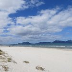 The North part of the beach, with Whangarei Heads peninsula in the background
