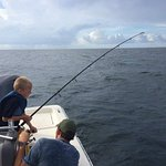 My son catching a kingfish