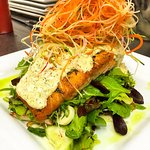 Pan Seared Salmon over salad topped with Dill sauce