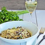 Mushroom Risotto and a glass of wine
