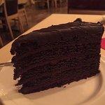 Dark chocolate cake with dark chocolate ganache. I didn't share!