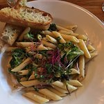 Montchevre Broccoli Penne with garlic bread. Beer battered Fish & Chips